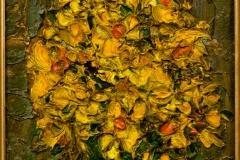 Bouquet-jaune-sur-fond-vert-huile-sur-carton-10x16-Malletjapon-8mars