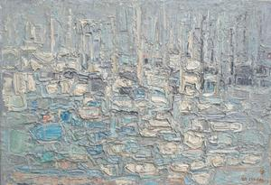 "André COTTAVOZ - ""Port de Cannes - 50x73 - 1963"